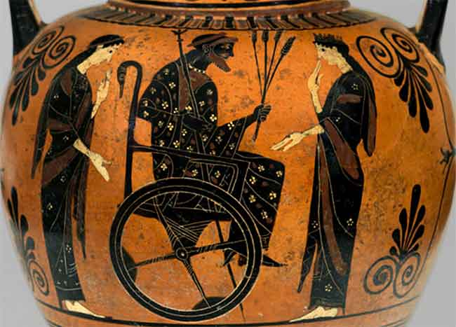 Ancient Greek vase depicting someone in a rudimentary wheelchar.